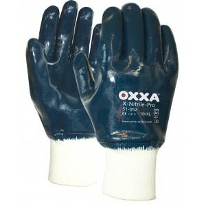 Oxxa X-Nitrile-Pro 51-052, met tricot manchet en gesloten rugzijde Maat 9 Oxxa X-Nitrile-Pro 51-052, met tricot manchet en gesloten rugzijde