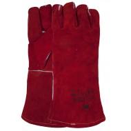 Lashandschoen van rood splitleder, met Kevlar garen gestikt Maten 10