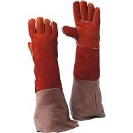 Lashandschoen van rood splitleder, 55 cm Maat 20