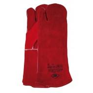 Lashandschoen van rood splitleder, 3-vinger model Maten 10