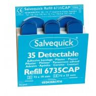 Salvequick Blue Detectable pleisters (6735CAP), 35 steriele pleisters (21 st. 72 x 19 mm en 14 st. 72 x 25 mm), à 6 navullingen