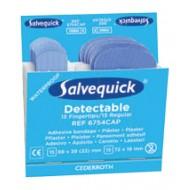 Salvequick Blue Detectable Fingertip (6754CAP), 30 ster. pleisters (15 st. 63 x 39 (22) mm, 15 st. 72 x 19 mm), à 6 navullingen